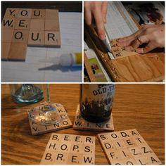 DIY Scrabble Drink Coasters DIY Scrabble Drink Coasters