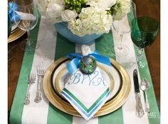 A Colorful Tradition | At Home in Arkansas christmas table decorations, holiday, blue christma, christmas tables, christma tabl, blue green, christma decor, napkin, tabl set