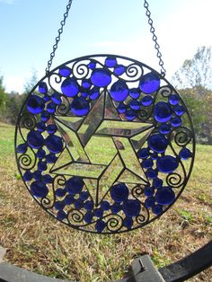Stained Glass, Stained Glass Window Panel, Stained Glass Round, Home Decor. Stained Glass Religious Round, 'Star of David' CUSTOM LISTING on Etsy, $139.00