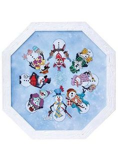 Snowmen round cross stitch pattern