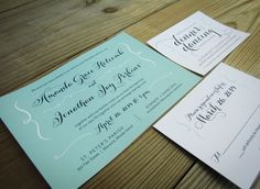 embrace wedding invitation | seafoam and navy calligraphy style stationery
