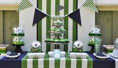 dessert tables, birthday parties, theme parties, golf party, kelly green, golf parti, the navy, golf theme, themed parties
