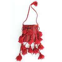 Peruvian Tassel Red Shoulder Bag