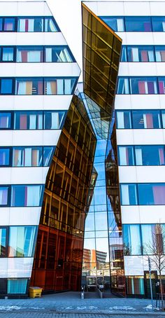 Ericsson Kista building in Stockholm. Designed to appear as if the building has been torn in two.