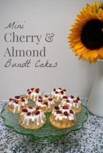 Cherry and Almond mini bundt cakes