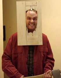 Here's Johnny!  Jack Torrence costume from The Shining - creepy and fun for Halloween or an #80s party, although it might be a little hard to drink your drink at the party! http://www.liketotally80s.com/2013/10/80s-costume-jack-torrance/