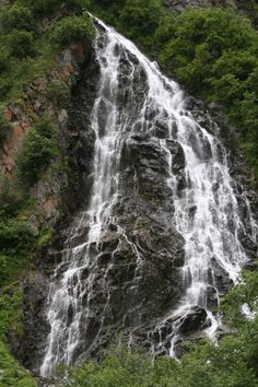 Horsetail Falls, on the side of the road driving to Valdez, Alaska.