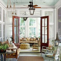 This vintage-inspired porch is the perfect retreat for furry friends.