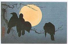 crow, woodblock print