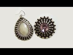 Beaded earrings: beaded earrings with Swarovski crystals and polymer clay cabs | Beaded Jewellry - YouTube