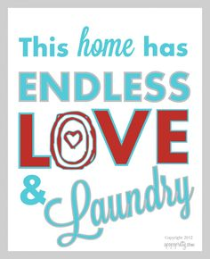 Free printable - Love and Laundry - Aqua and red - apopofprettydotcom