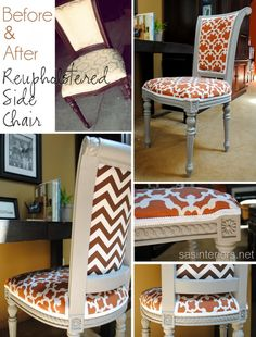 DIY: Reupholstered Side Chair idea, diy crafts, annie sloan, desks, hous, reupholst chair, old chairs, side chairs, desk chairs