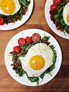 Yum. Eggs and arugula