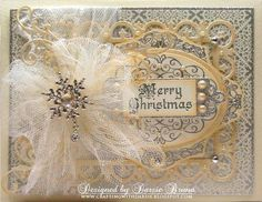 Antique Look for a Christmas Card. Lovely bow made with tulling.