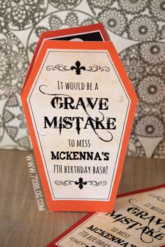 """Halloween Birthday Bash {Free Printable Invite} ~ Says: I've made a template for you to download and fill in your info with a sharpie! The 8.5"""" x 11"""" pdf download includes the main coffin template, the front piece that says """"Grave Mistake"""" and the inside with the skeleton holding a parchment with who, where, when and RSVP to fill out."""