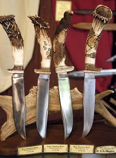 Carved Knife Handles,  This is done by William & Elizabeth Lloyd.