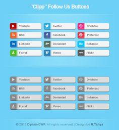 бесплатности clipp, кнопок follow, free button, follow button, button social, buttons, button set