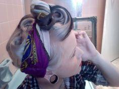 short hair, white hair, balls, chocolates, vintage hair, swirl, chocolate trifle, pin curls, black