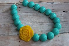 Chunky toddler necklace   tuquoise with by muffintopsandtutus, $14.99