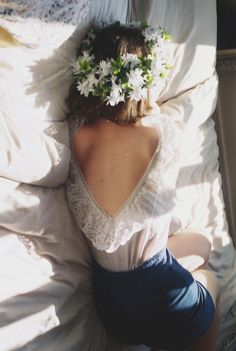 Boho chic lace top, afternoon nap with modern hippie flower headband. For the BEST Bohemian fashion trends FOLLOW http://www.pinterest.com/happygolicky/the-best-boho-chic-fashion-bohemian-jewelry-gypsy-/ now