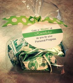 Young women personal progress knowledge value handout incentive. Dollar store mints.