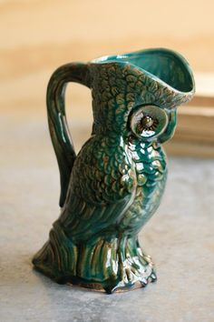 Ceramic Turquoise Owl Vase with Handle  #owl
