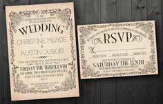 Vintage Wedding Invitation Set - Printable. $30.00, via Etsy.