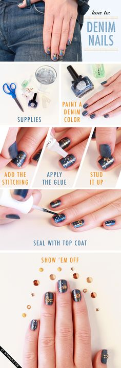 DIY denim inspired manicure - with bedazzling!
