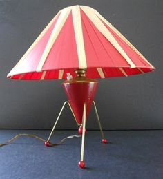 Vintage tripod lamp with red and white shade