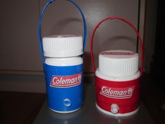 Coleman personal coolers for summer camps. Made with 4 bottle caps, red plastic tape, craft wire, straw for spout. Blue cooler made with recycled aspirin bottle.