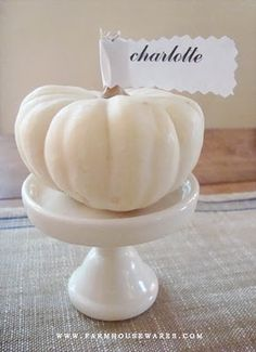 White Pumpkin Placecards