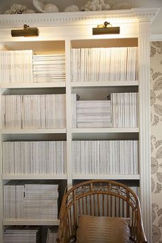 Bookcases devoted to magazines- a beautiful sight!  By Mark Sikes.