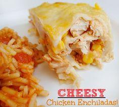 Lightened Up Cheesy Chicken Enchiladas!