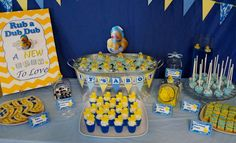 Fun dessert table at a rubber ducky boy baby shower!   See more party planning ideas at CatchMyParty.com!