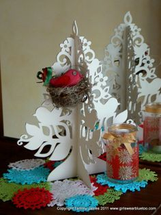Handmade Christmas Trees - DIY and Crafts Collection doili, gerber daisies, blue, handmad christma, christma tree, christmas displays, craft collect, christmas trees, handmade christmas decorations