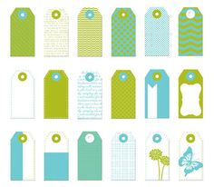 Donna Downey - Mini Paper Tags - Blue & Green