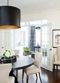 dining rooms, interior, chair, dine room, light fixtures, door, shade, round tables, black
