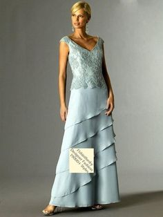 A-line V-neck  Lace Short  Ankle-length Chiffon Light Sky Blue Mother of the Bride Dresses