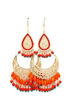 Boho Persimmon Chandelier Earrings #orange #gold