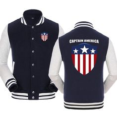Captain America star logo with CAPTAIN AMERICA in the back baseball zip-up hoodie