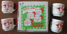 4x Vintage Santa Land Christmas Stack Mugs w/Box Made In Japan 1960s