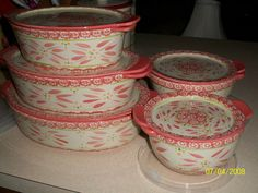 Temp Tations NEW OLD World HOT Pink Oval Bakers Mixing Bowls W Lidits | eBay