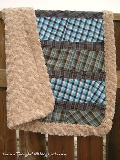 Men's Shirts into a BABY Blanket... Neat Idea, plus it's recycling!