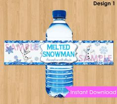 """Frozen Bottle Labels - INSTANT DOWNLOAD 2x9""""  Melted Snowman Disney Frozen Water Bottle Labels - Birthday Party Printable matches Invitation..."""