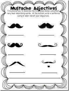 mustache language, idea, adject worksheet, middle school grammar, literaci