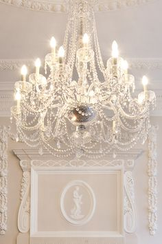 Chandelier and white wall molding. #home #decor Love, Lace, & Glitter: Pinspired: Pastels