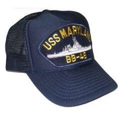 Blue & Gold Navy Ships Trucker Hat - USS Maryland BB-46