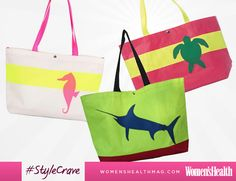 #StyleCrave: Hayden Reis Totes. These beach bags are made of water-resistant sailcloth, which is way more durable than a straw bag. Where to buy it: http://blog.womenshealthmag.com/beauty-style-buzz/beach-bags/