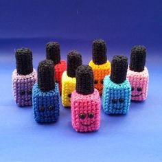 Link is a mess, but aren't these funny little crochet nail polish bottles!