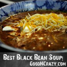 """best black bean soup"" recipe--very basic ingredients plus her ""secret ingredient,"" chipotle peppers!"